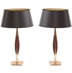 Sculptural Pair of Brass & Walnut Lamps by Laurel