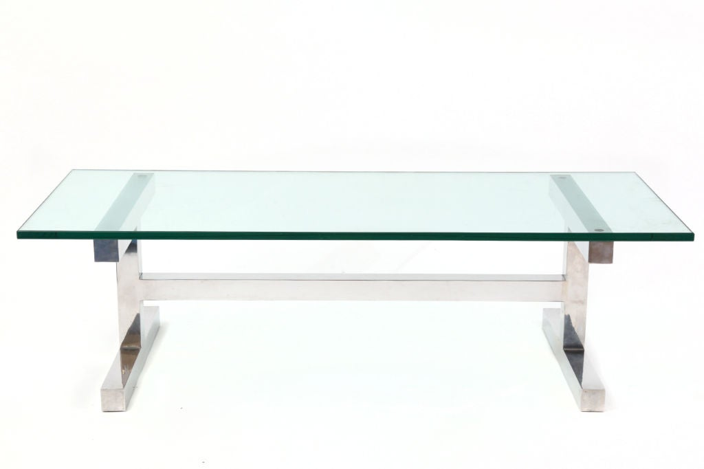 Elegant H Base Mirror Polished Aluminum And Glass Cocktail Table At 1stdibs