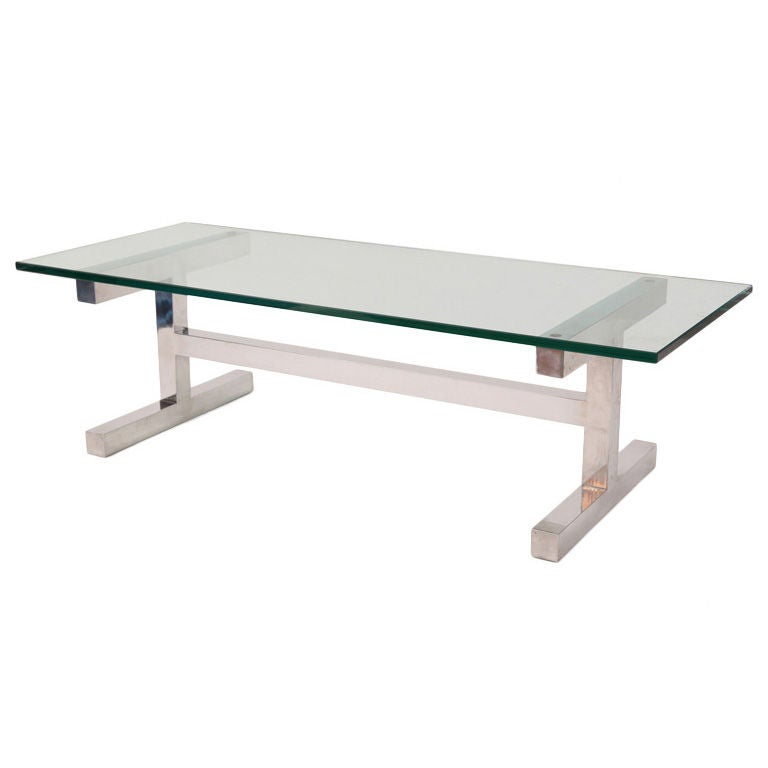 Elegant Glass And Metal Coffee Table: Elegant H Base Mirror Polished Aluminum And Glass Cocktail