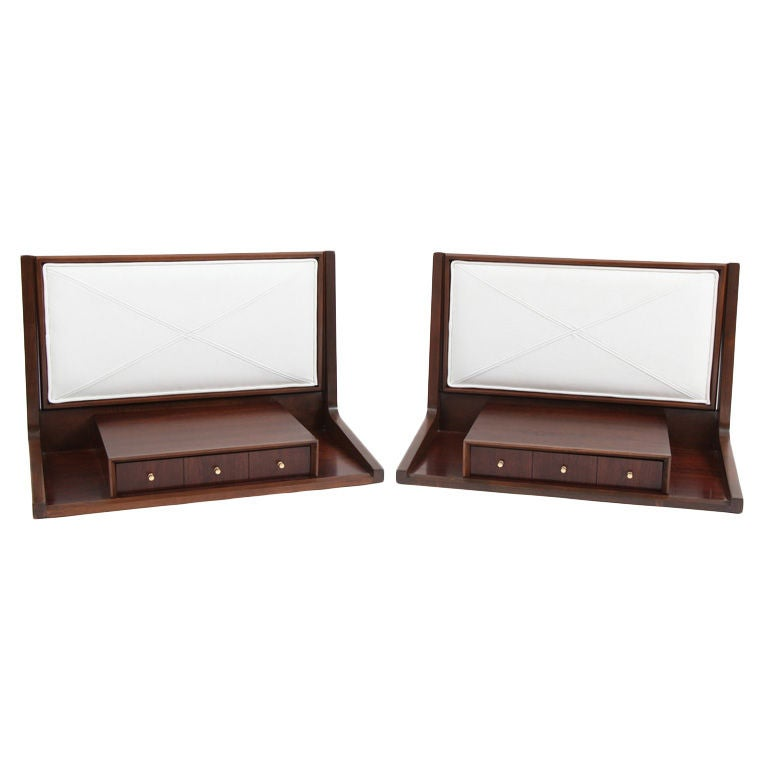 Walnut And White Leather Wall Mounted Night Stands With Drawers For Sale At 1stdibs