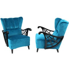 Gorgeous Ebonized Birch & Mohair Lounge Chairs