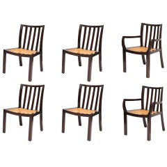 Six Sculpted Mahogany Baker Dining Chairs