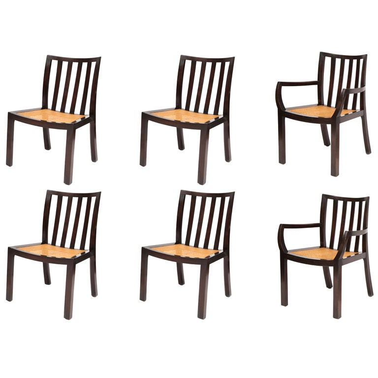 Six Sculpted Mahogany Baker Dining Chairs At 1stdibs