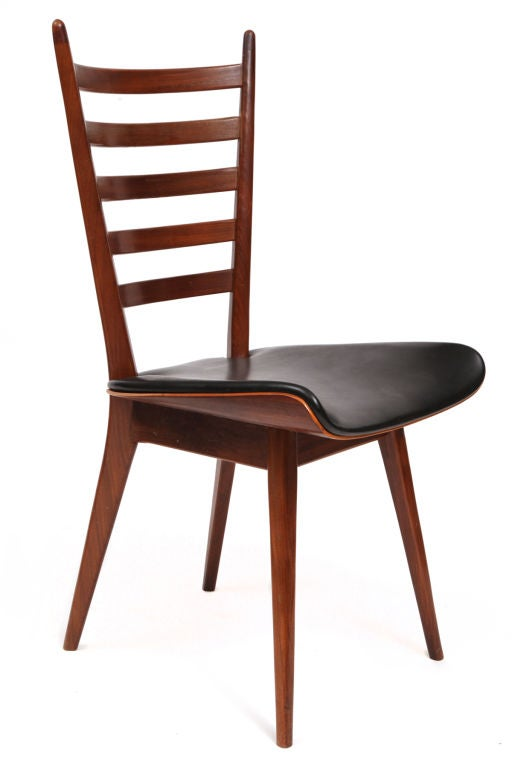 4 Solid Teak And Leather Ladderback Dining Chairs At 1stdibs