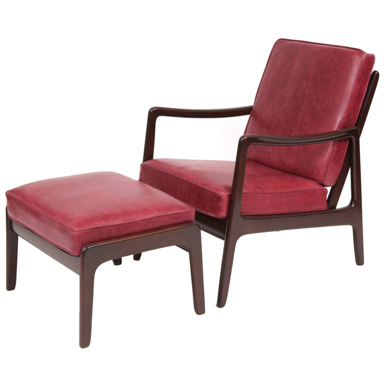 Ole Wanscher Teak Leather Chair and Ottoman at 1stdibs
