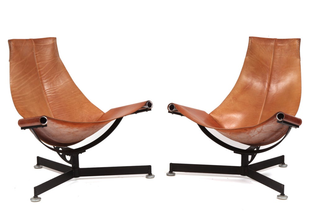 Max gottschalk leather and iron sling chairs at 1stdibs