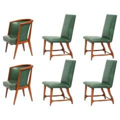 6 Leather & Oak Dining Chairs by Harold Schwartz for Romweber