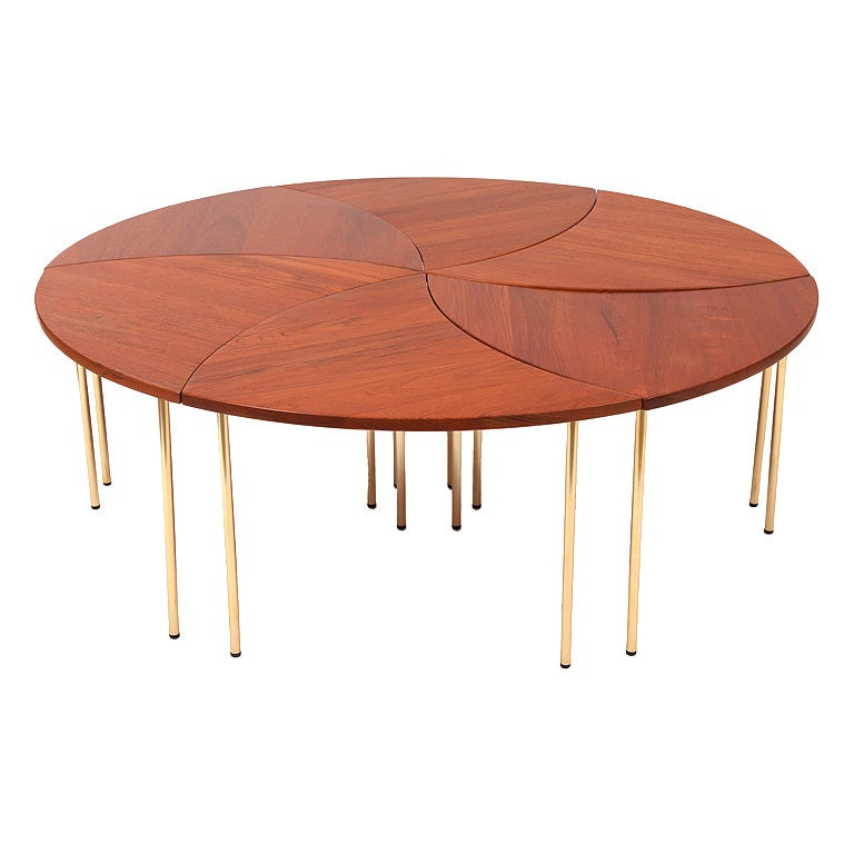Teak Burger Coffee Table: Teak And Brass Cocktail Table By Peter Hvidt At 1stdibs