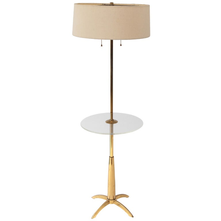 Brass and lucite floor lamp by stiffel at 1stdibs for Chunky brass floor lamp