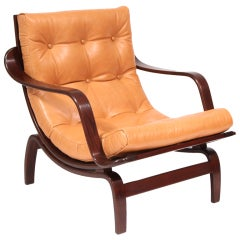 Lacquered Oak & Leather Occasional Arm Chair