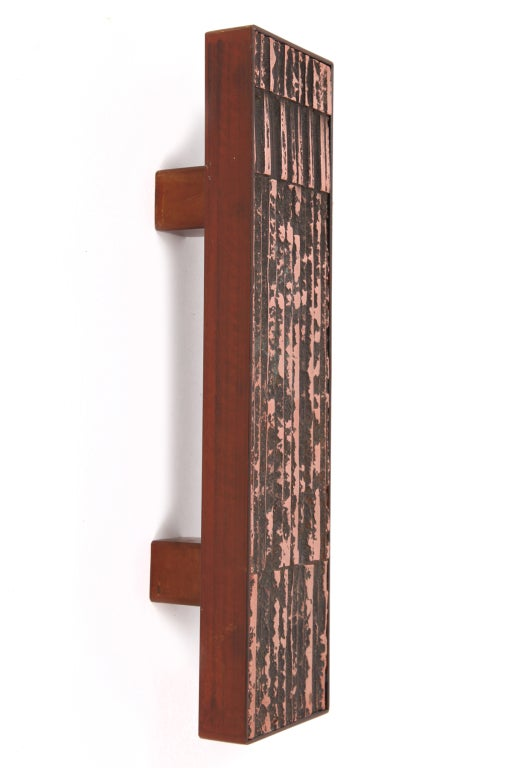Mid-Century Modern Large Scale Copper and Steel Door Handles For Sale