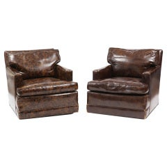 Oil Drop Leather and Down Club Chairs