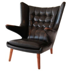 Rare Original Leather Wegner Papa Bear Chair