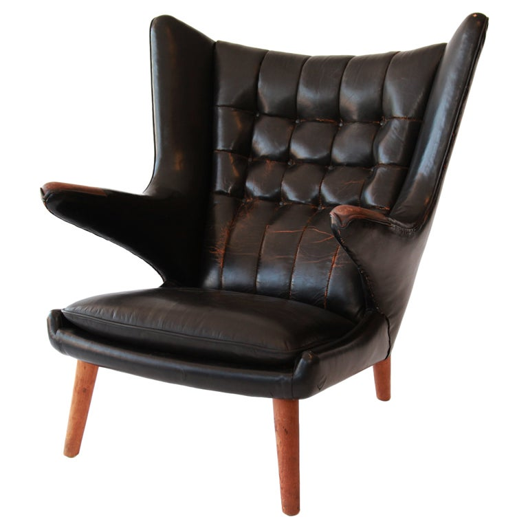Rare Original Leather Wegner Papa Bear Chair At 1stdibs