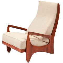 Prototype Walnut & Linen Allen Ditson Chair