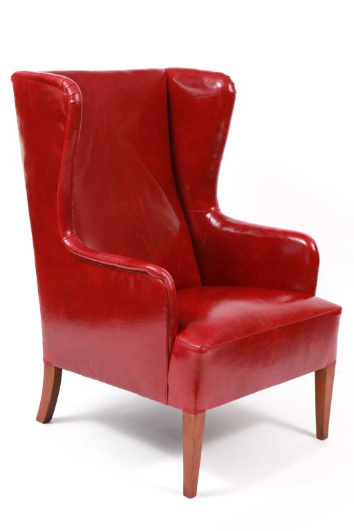 Illums Bolighus Leather Wingback Chair And Ottoman At 1stdibs