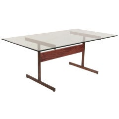 Milo Baughman Bronze and Rosewood I Beam Dining Table