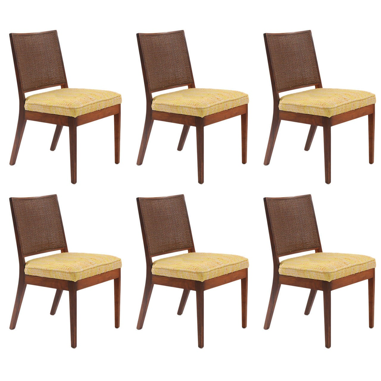 Six Solid Walnut Dining Chairs By John Kapel For Sale At