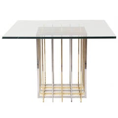 Brass and Chrome Collapsible Dining Table by Pierre Cardin