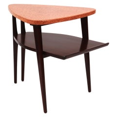 Sculptural Cork and Mahogany Table by Paul Frankl