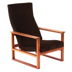 Børge Mogensen Adjustable Oak and Mohair Lounge Chair