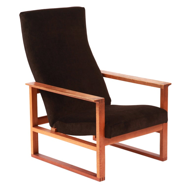 Børge Mogensen Adjustable Oak and Mohair Lounge Chair