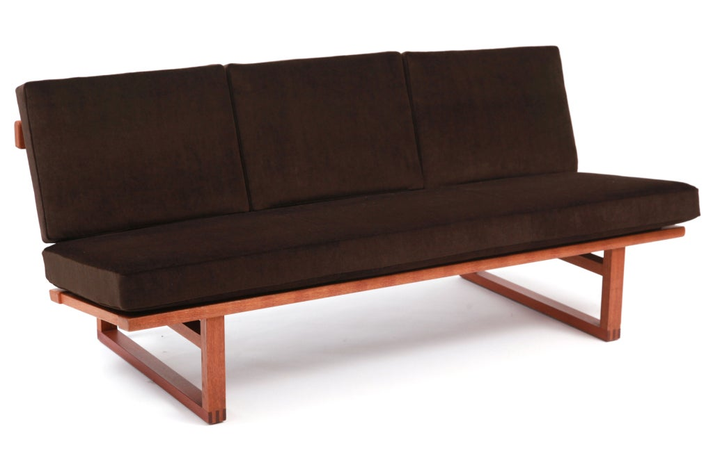 Borge Mogensen Oak Chocolate Brown Mohair And Leather Loveseat For Sale At 1stdibs
