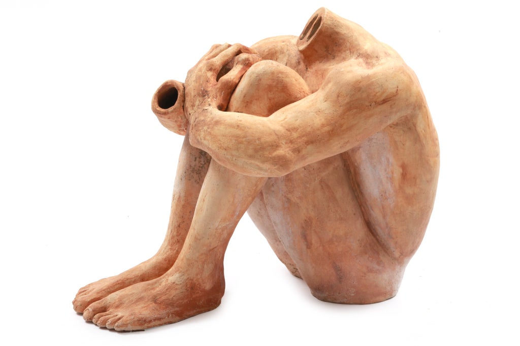 Life-size ceramic figural sculpture, circa early 1970s. This example is a stunning and haunting artwork in person. It was purchased in the Northwest area in the 1970s. It can be used indoors or out.