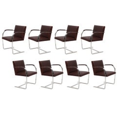 8 Mies Van Der Rohe Stainless Knoll Brno Chairs
