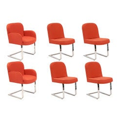 6 Milo Baughman Thayer Coggin Cantilevered Dining Chairs