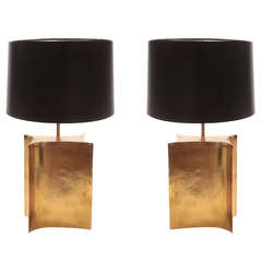 Elegant Pair of Free Form Hammered Brass Lamps