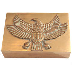 Solid Brass Jewelry Box with Eagle Motif