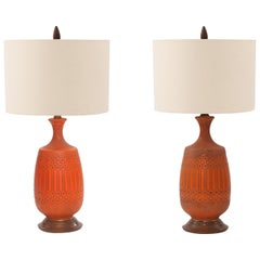 Pair of Glazed Ceramic and Walnut Table Lamps