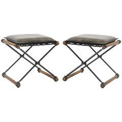 Pair of Iron and Oak Stools by Cleo Baldon