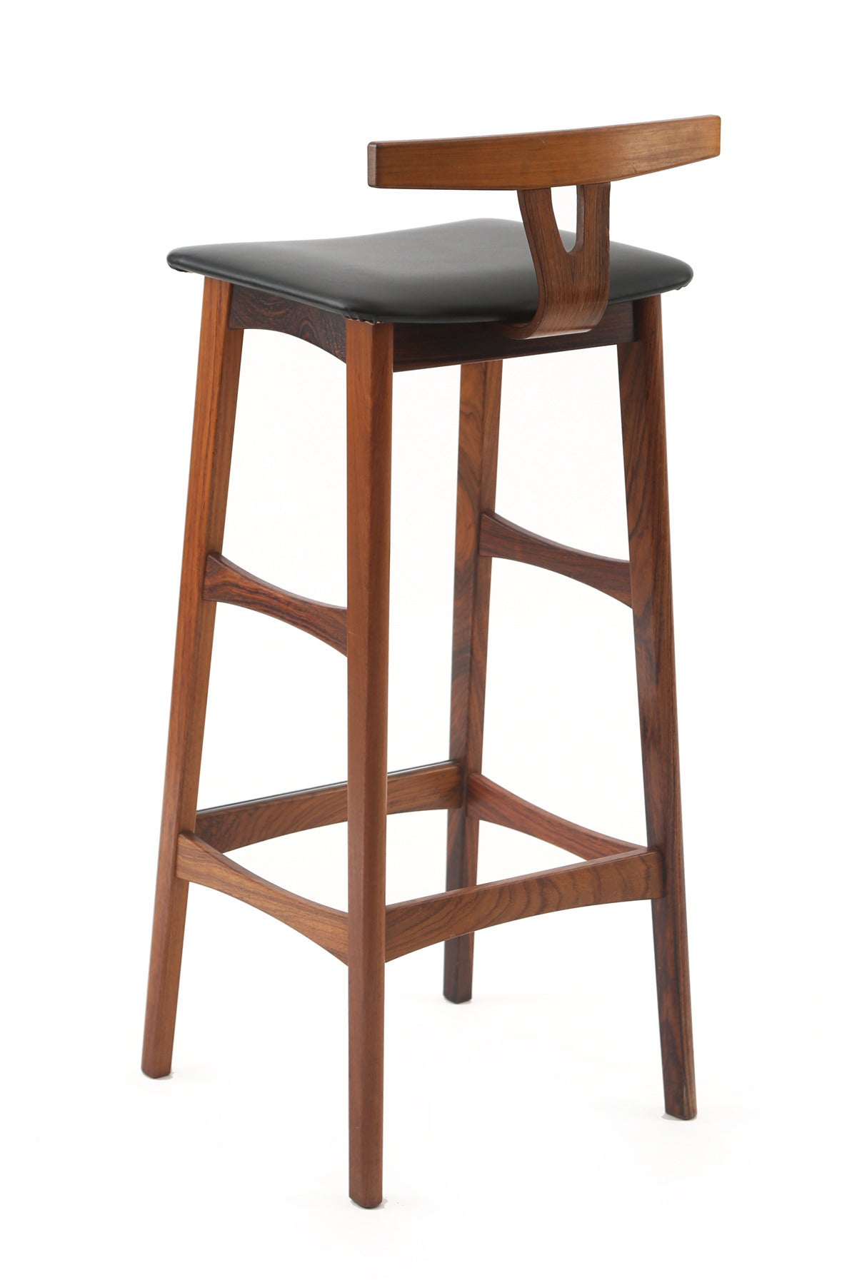 Three Solid Rosewood Barstools By Dyrlund At 1stdibs
