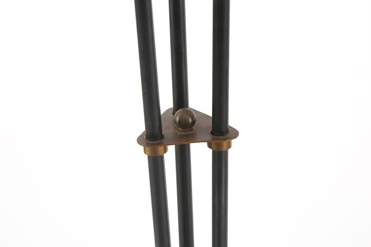 Iron Brass And Linen Tripod Floor Lamp For Sale At 1stdibs