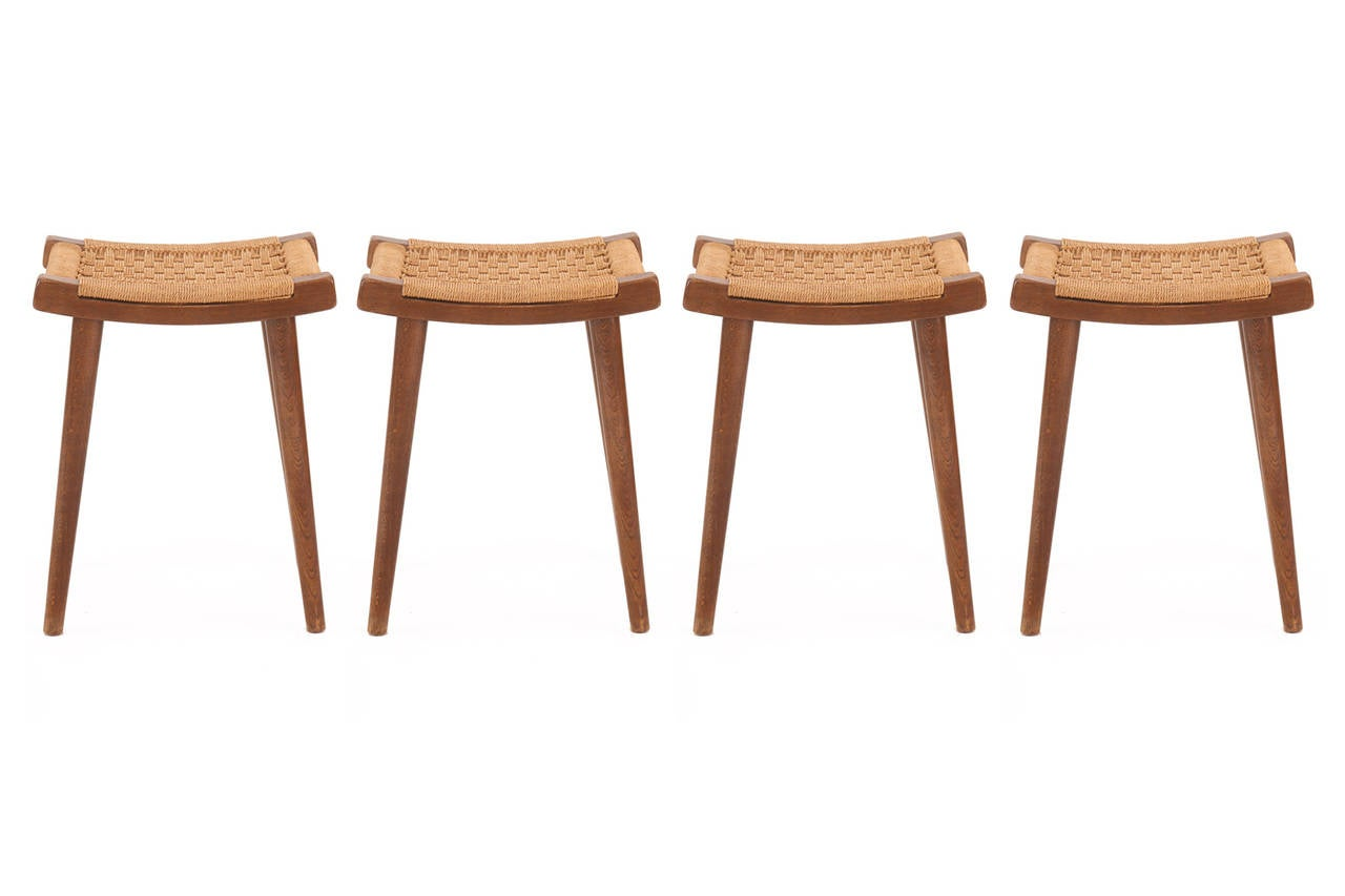 Four Teak And Woven Rope Stools Or Ottomans For Sale At