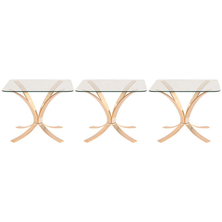 Roger Sprunger for Dunbar Bronze and Glass Side Tables