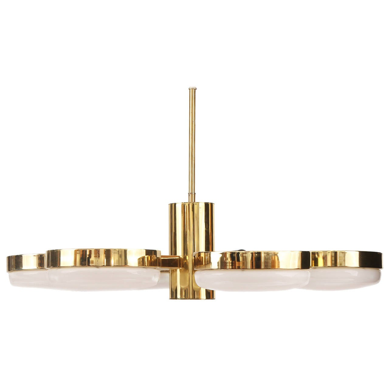 Polished Brass And Glass Six Arm Chandelier By Feldman At