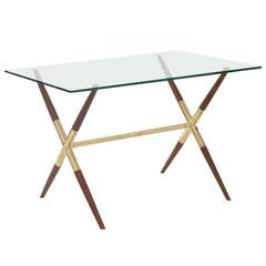 Tapered Walnut and Polished Brass Italian Occasional Table