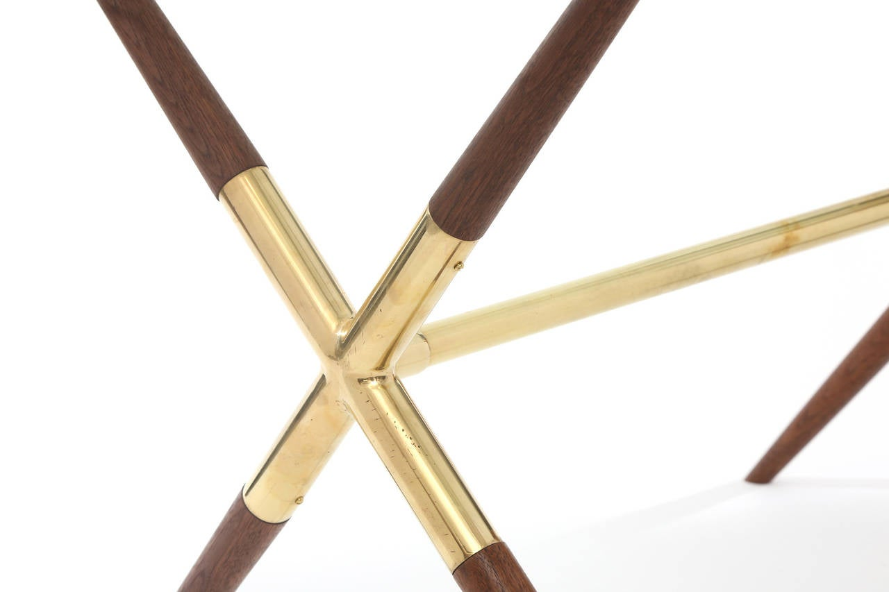 Mid-20th Century Tapered Walnut and Polished Brass Italian Occasional Table For Sale