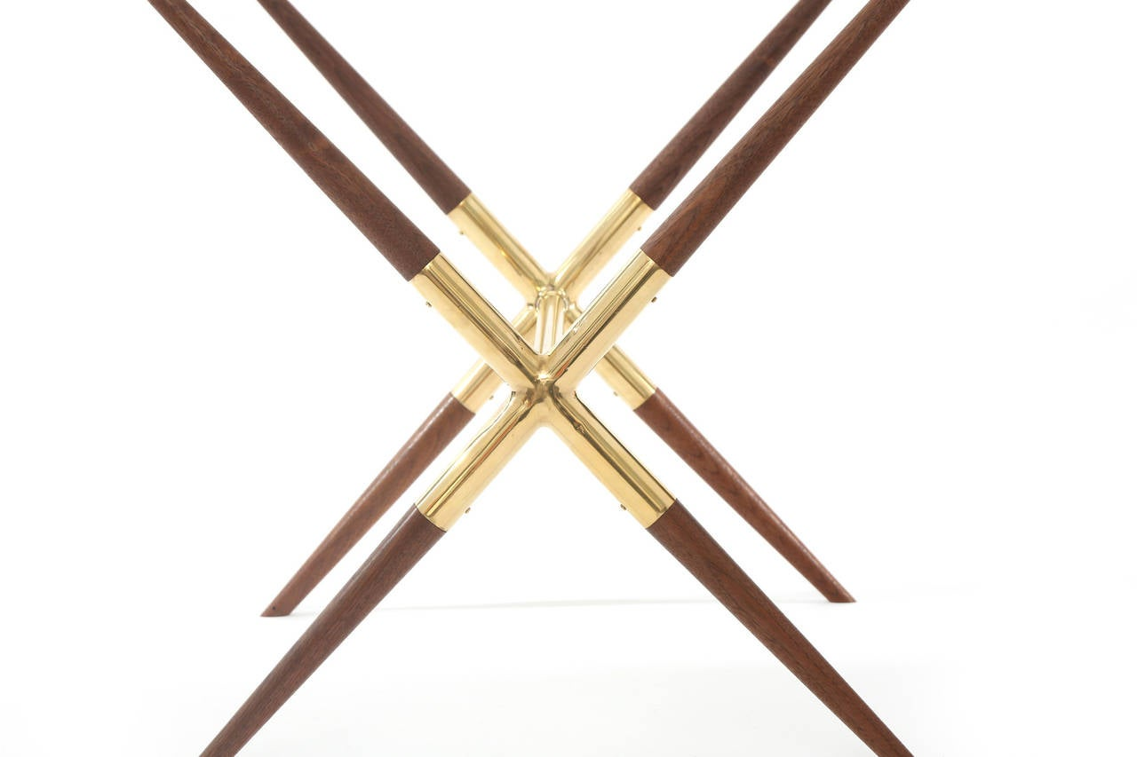 Tapered Walnut and Polished Brass Italian Occasional Table In Good Condition For Sale In Phoenix, AZ