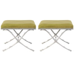 Pair of Polished Aluminum & Leather Ottomans