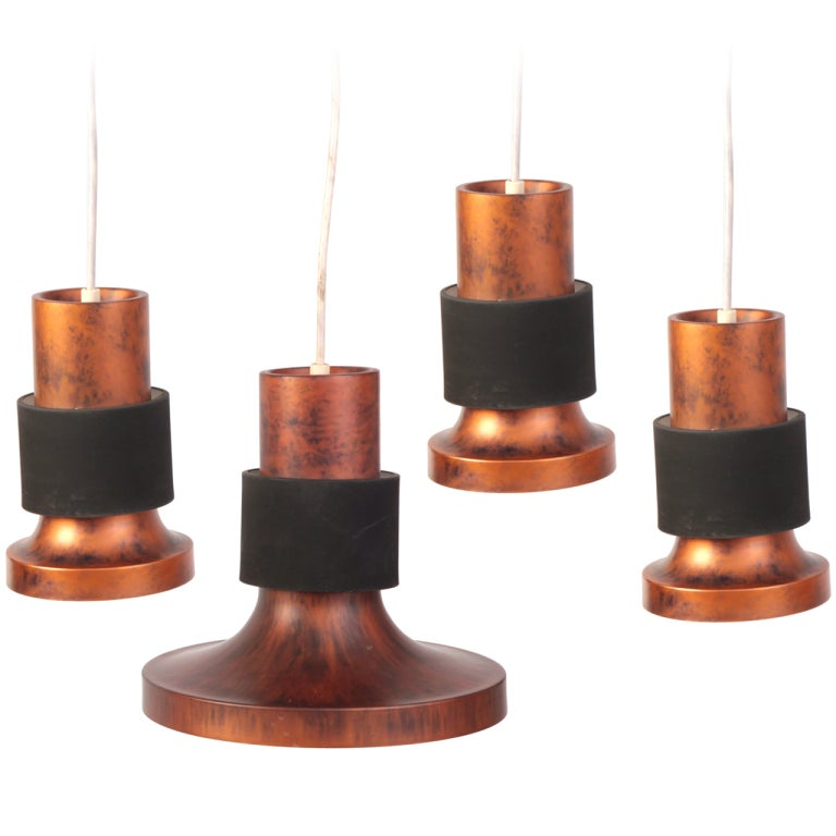 Lightolier Ring Chandelier At 1stdibs: Patinated Copper And Metal Pendant Lights By Lightolier At