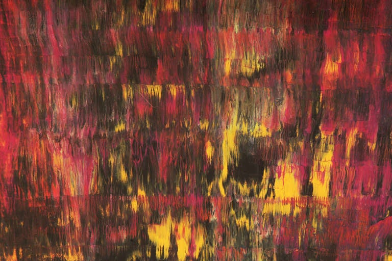 Mixed media painting on board by Steven Sles circa 1971. Sles was a handicapped painter who studied under Hans Hoffman and remarkably painted all his works with his mouth. This example incorporates drips blends and color layering to create a