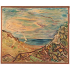 Steven Sles Oil on Linen Painting circa 1955