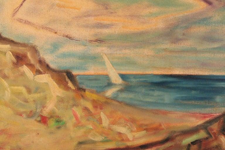 Mid-Century Modern Steven Sles Oil on Linen Painting circa 1955 For Sale