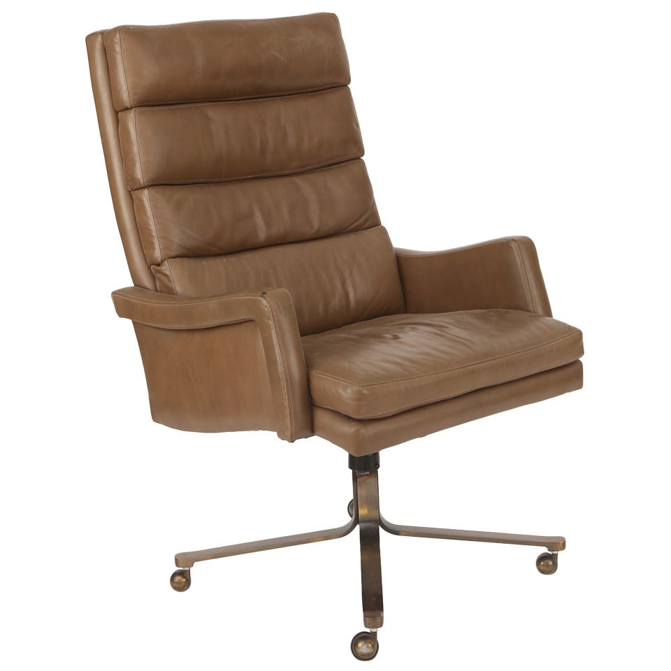 High back leather and bronze office chair at 1stdibs for High back leather chairs