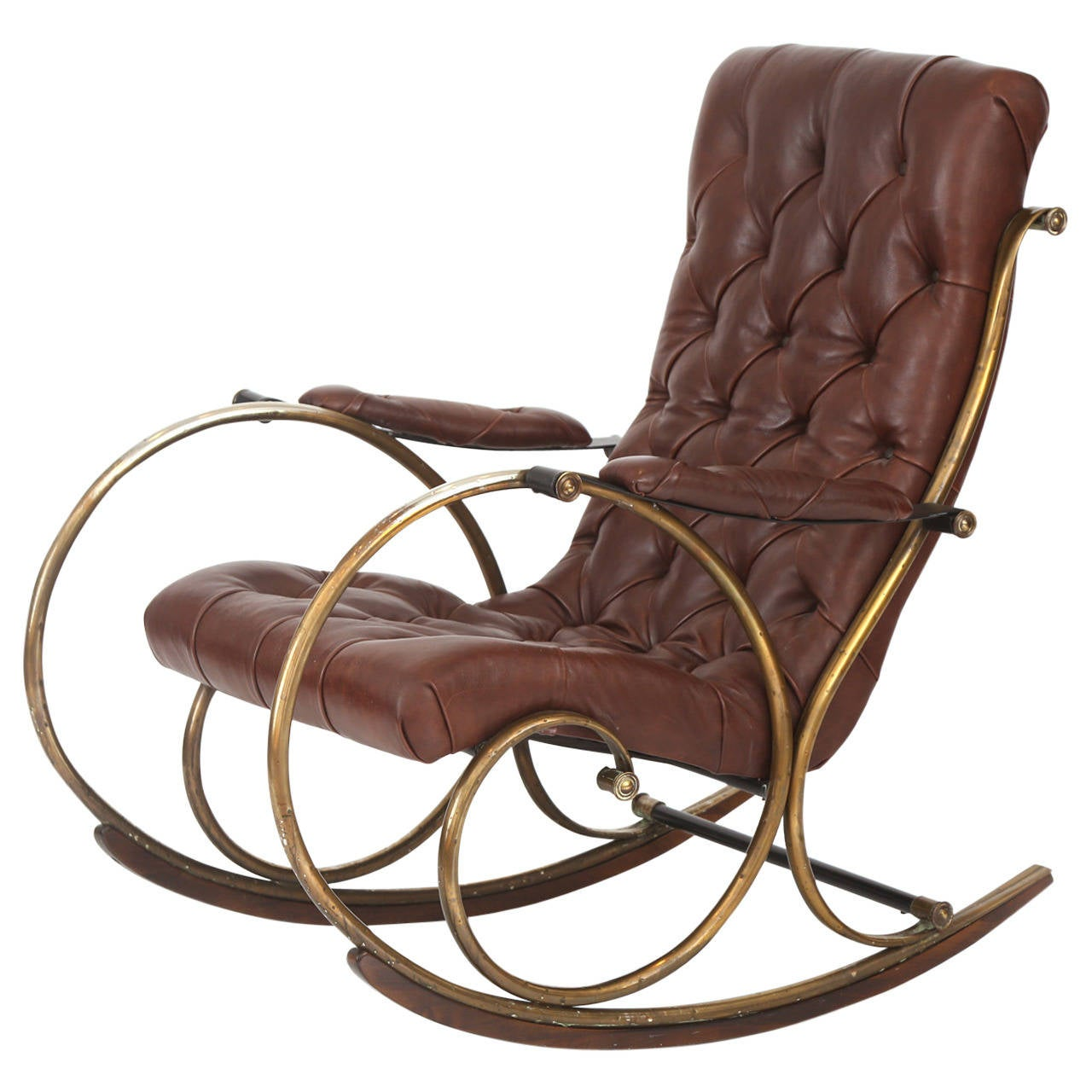 Merveilleux Leather Brass And Wood Rocking Chair By Woodard For Sale