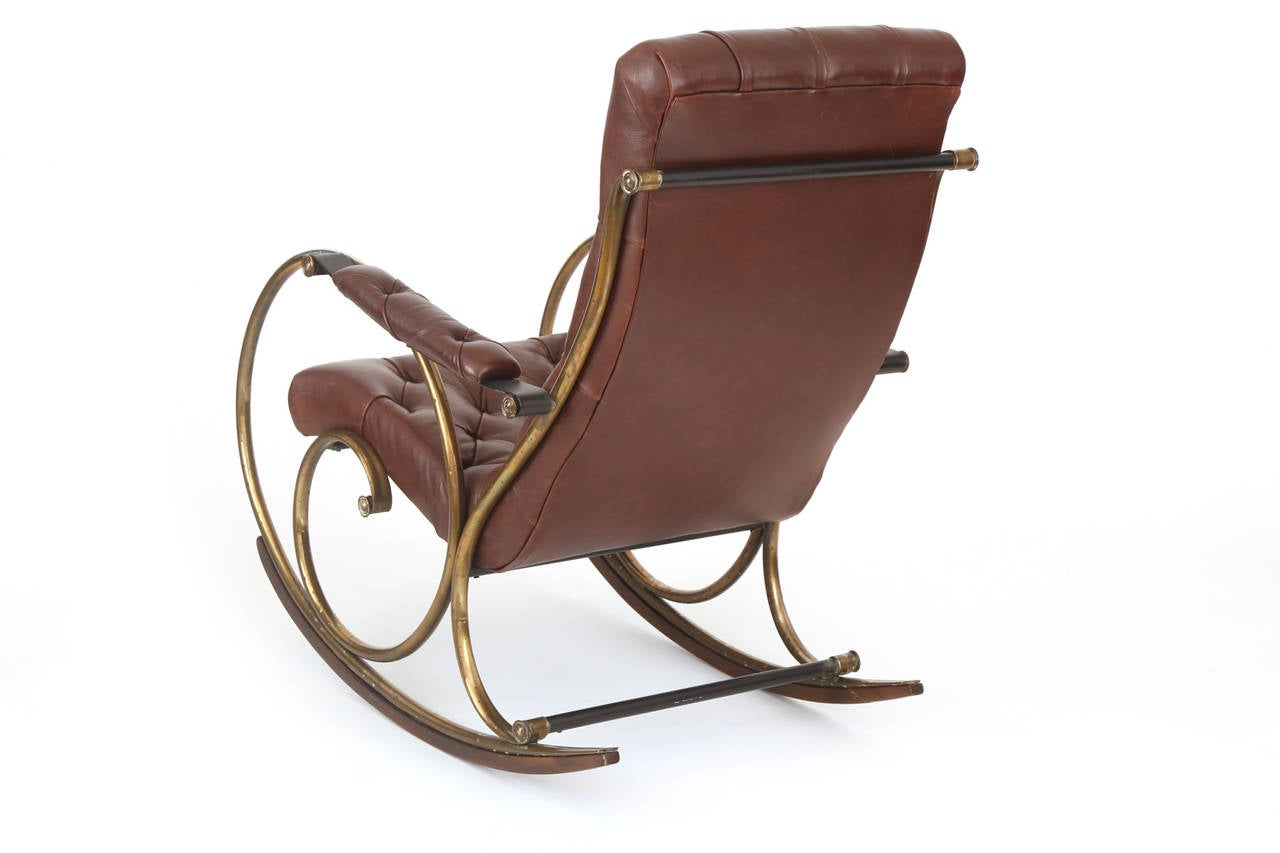 leather brass and wood rocking chair by woodard for sale at 1stdibs. Black Bedroom Furniture Sets. Home Design Ideas